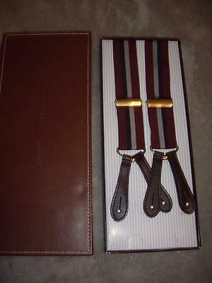 New in Original Box Tommy Hilfiger Suspenders Braces Burgundy Blue & Gray