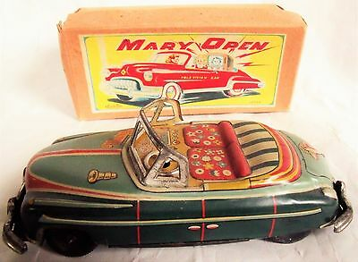 Vintage (Antique) Tin Friction Toy Car Mary Open Television