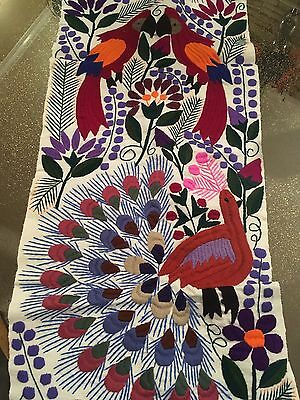 Handmade Embroidered Table runner otomi floral sunflower Bedding Throw Wall Art