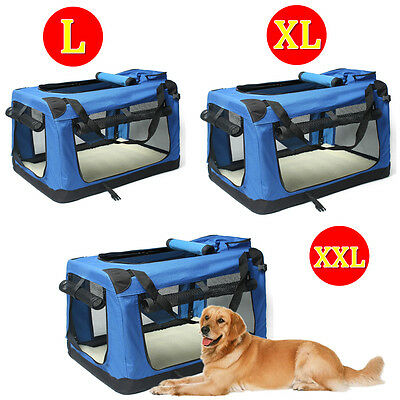 L/XL/XXL Blue Pet Dog Soft Fabric Carrier Crate Portable Kennel Foldable Cage UK