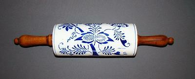 ANTIQUE BLUE DECORATED STONEWARE ROLLING PIN marked GMT & Bro. 3983 Germany