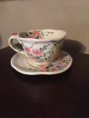 TABLETOPS UNLIMITED~Gorgeous ENGLISH GARDEN Handpainted Tea Cup & Saucer