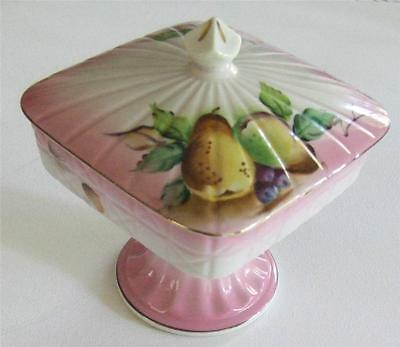 Beautiful Pink Footed China Comport with Lid - Fruit and Berry Decoration