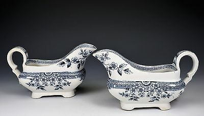 Aesthetic Blue White Transferware Staffordshire A & F Co, FOLEY Two Gravy Boats