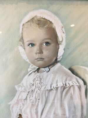 DUCHESS - Baby Girl Beauty Pastel Colored Photo Antique Frame signed Jose Rey