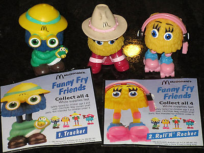 McDonalds Funny Fry Friends Set of 3 - 1992 Happy Meal toys
