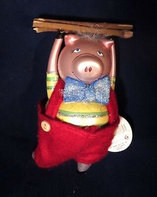 Dept 56 Three Little Pigs PIG WITH WOOD Glass Christmas Ornament New