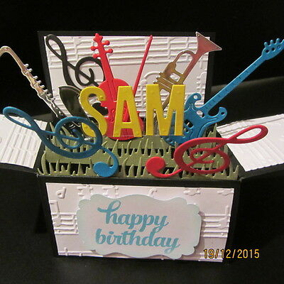 Handmade 3D Birthday card in a box -Music,PERSONALISED