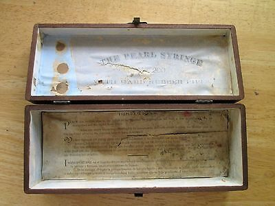 rare antique THE PEARL SYRINGE medical wooden box with instructions Primitive