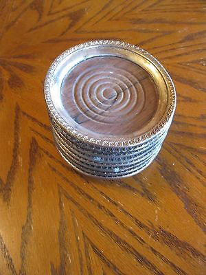 Set Of 8 Vintage Sterling Silver And Wood Coasters
