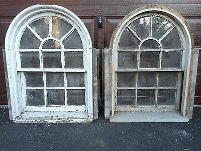 PAIR of ANTIQUE ARCH TOP WINDOWS from MANSION PICKUP BOSTON AREA