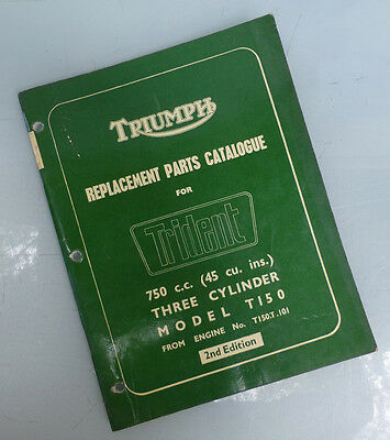 1969/70 Triumph Motorcycle Orig Factory Parts Manual Book Trident T150 Triple