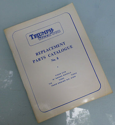 1961/1963 Triumph Motorcycle Orig Factory Parts Book Manual Tiger Cub T20 Ss Sh