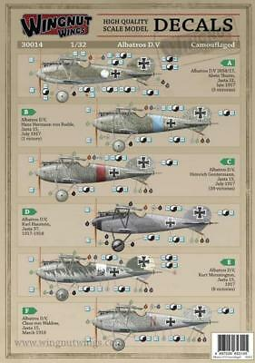 Wingnut Wings 1:32 WWI Albatros D.V Camouflaged - Decal Sheet #30014