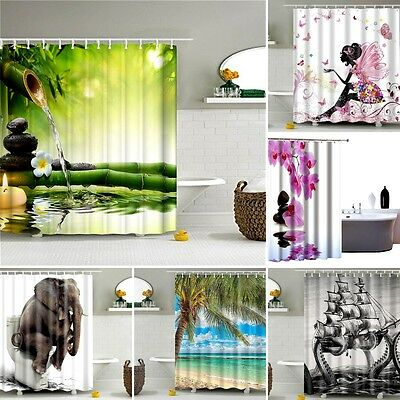 Fabric Extra Long 180 x180CM Waterproof Textile Shower Curtain With 12 Hooks