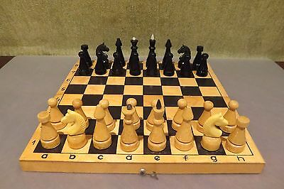 Vintage Sept.1991 USSR Soviet Wooden CHESS Set with board