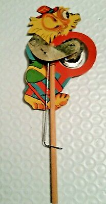 VINTAGE Paper Mechanical pull novelty toy CAT w/ TAMBOURINE on a stick