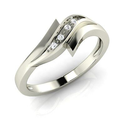 CZ Stylish Wedding Band Anniversary Ring White Gold Plated 925 Sterling Silver