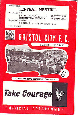Bristol City V Swindon Town 12 Aug 1964 - Cathedral Fund Signed By 4! Special!