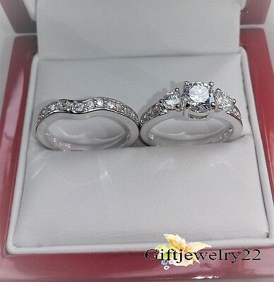 1.26 Ct Ladies Engagement Wedding Bridal Ring Diamond Band Set 14K White Gold