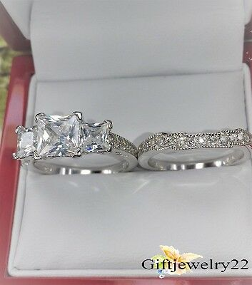 14K White Gold Diamond Three Stone Wedding Band Set Engagement Bridal Ring