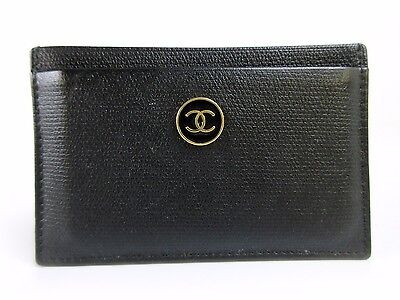 Authentic CHANEL Coco Botan Card Case A20906 Black Leather Great 39620