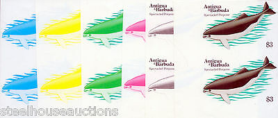 1983 Antigua Barbuda Whales $3 Spectacled Porpoise IMPERF PROGRESSIVE PROOFS (6)