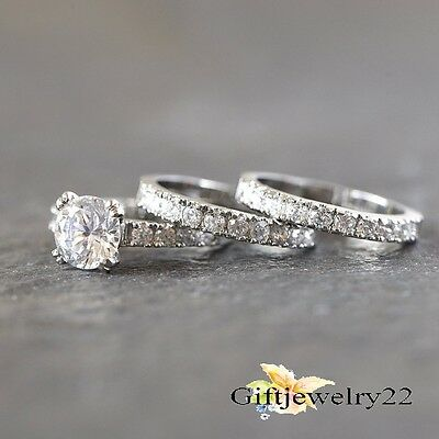 1.38 Ct 10K White Gold Round Bridal Set Diamond Engagement Ring Wedding Band