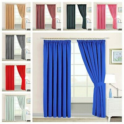 Pencil Pleat Blackout Pair Curtains For Hook Pole Bedroom Living Room
