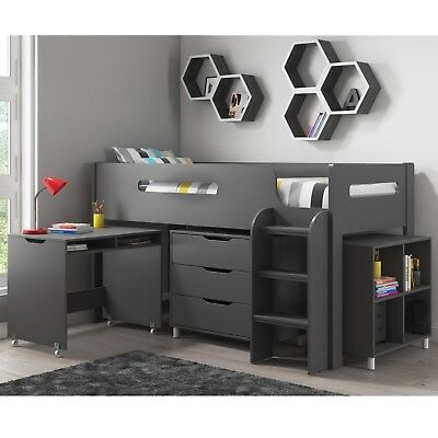 Grey Cabin Bed Midsleeper + Mattress Options + Includes Storage & Desk
