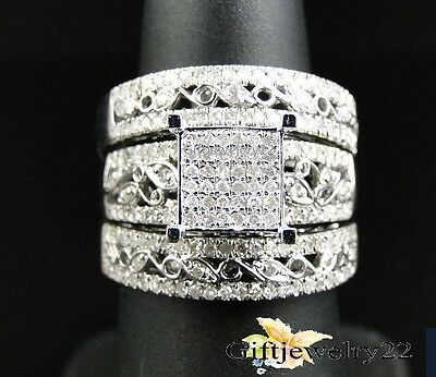 Diamond Trio Set 10K White Gold Engagement Ring Wedding Band Round 2.10 Ct