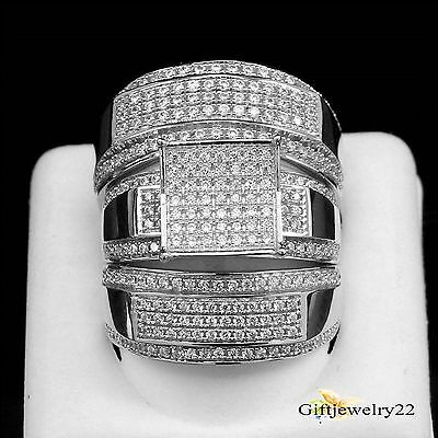 10K White Gold Round Cut Diamond Engagement Ring Wedding Band Trio Set 3.50 Ct