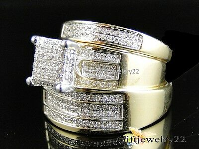 Diamond Trio Set 10K Yellow Gold Round Engagement Wedding Bridal Ring 1.92 Ct