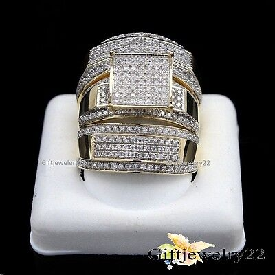 14K Yellow Gold Diamond Trio Set Bridal Engagement Ring Matching Wedding Band