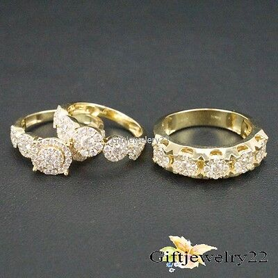 D/VVS1 Diamond Trio Set Engagement Bridal Ring Wedding Band 14K Yellow Gold