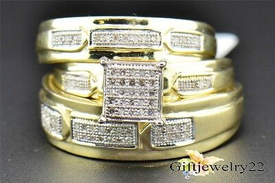 10K Yellow Gold 1.50 Ct Diamond Wedding Trio His Her Engagement Bridal Ring Set