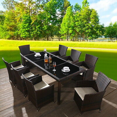 Rattan Garden Patio Furniture Set Outdoor 8 Seat Dinning Table and Chair Set