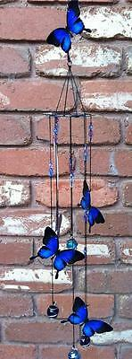 GORGEOUS**METAL BUTTERFLY  WIND CHIME* 5 butterfly's HANGING  NEW **