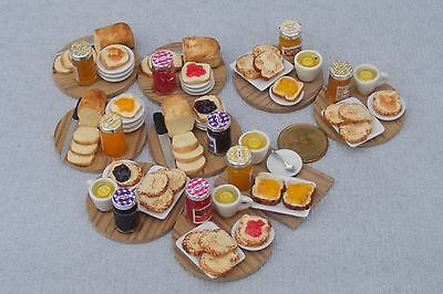 1:12 Scale Dolls House Miniature Handmade Breakfast Toast Bread & Jam On A Board