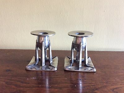 Pair Of Liberty Pewter Arhibald Knox Candlesticks