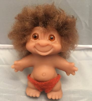 "Vintage Thomas DAM Troll Doll. Made In Denmark Stamped on Back, 3"" RARE"