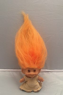 "Original Vintage 3"" DAM Troll Doll & 7"" Long Thick Orange Hair.Made In Denmark"