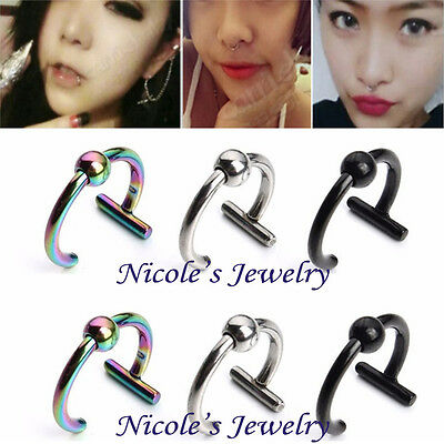 2PCS Stainless Steel Fake Ear  Stud Lip Nose Ring Body Piercing Jewelry CE14