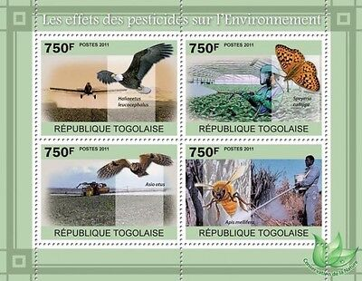 Togo Pesticides Honeybee Owl Bird Butterfly Agriculture S/s Mnh C11 Tg11108A