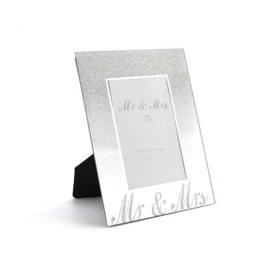 Silver Mirror Mr & Mrs Couple Glitter Picture Photograph Photo Frame Ornament