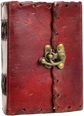 """1842 Poetry leather blank book w/ latch 4"""" x 5"""""""