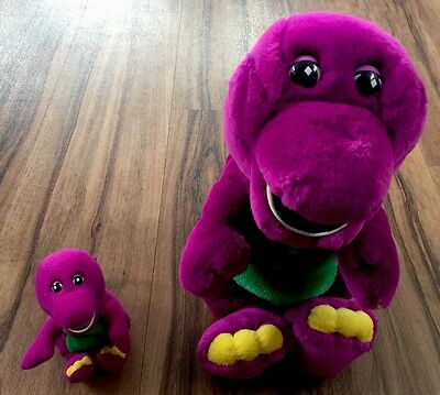 "Barney The Dinosaur 12"" Plush Soft Toy, Plus Small Barney  - Good Condition"