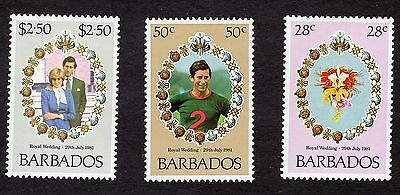 1981 Barbados Royal wedding SG674-6 MNH R31418