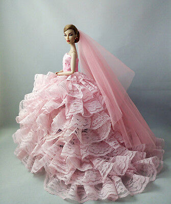 Pink Fashion Royalty Princess Dress/Clothes/Gown+Veil For Barbie Doll F06