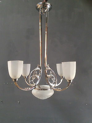 art deco lampe chrom ginkgo 4 armig 5 flammig jugendstil deckenlampe top eur 380 00. Black Bedroom Furniture Sets. Home Design Ideas